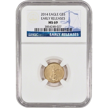 2014 American Gold Eagle (1/10 oz) $5 - NGC MS69 - Early Releases