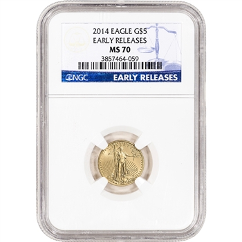 2014 American Gold Eagle (1/10 oz) $5 - NGC MS70 - Early Releases