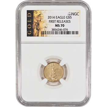 2014 American Gold Eagle (1/10 oz) $5 - NGC MS70 - First Releases - Gold Label