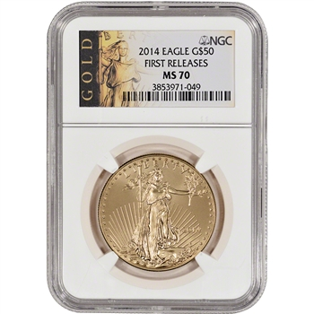 2014 American Gold Eagle (1 oz) $50 - NGC MS70 - First Releases - Gold Label