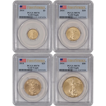2014 American Gold Eagle 4-pc Year Set - PCGS MS70 - First Strike