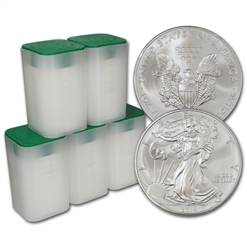 2014 American Silver Eagle (1 oz) $1 - 5 Rolls - 100 Coins in 5 Mint Tubes