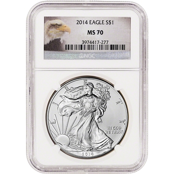 2014 American Silver Eagle - NGC MS70 - Eagle Label