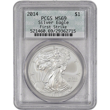2014 American Silver Eagle - PCGS MS69 - First Strike - Doily Label