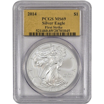 2014 American Silver Eagle - PCGS MS69 - First Strike - Gold Foil Label
