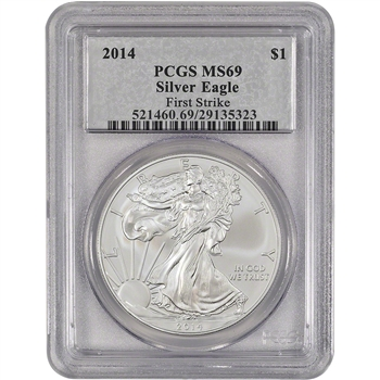 2014 American Silver Eagle - PCGS MS69 - First Strike - Silver Foil Label
