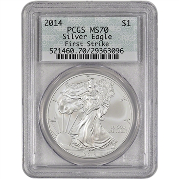 2014 American Silver Eagle - PCGS MS70 - First Strike - Doily Label