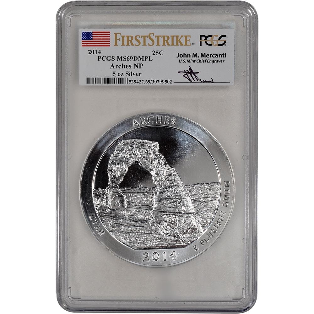 2014 5 oz Silver ATB Arches National Park Coin PCGS MS69 DMPL FS