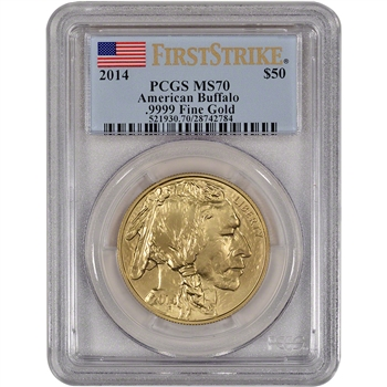 2014 American Gold Buffalo (1 oz) $50 - PCGS MS70 - First Strike