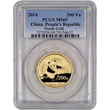 2014 China Gold Panda (1/2 oz) 200 Yuan - PCGS MS69