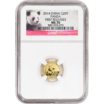2014 China Gold Panda (1/20 oz) 20 Yuan - NGC MS70 - First Releases - Red Label