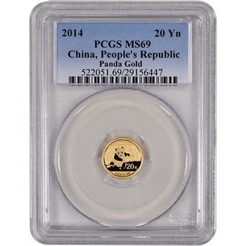 2014 China Gold Panda (1/20 oz) 20 Yuan - PCGS MS69