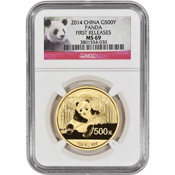 2014 China Gold Panda (1 oz) 500 Yuan - NGC MS69 - First Releases - Red Label