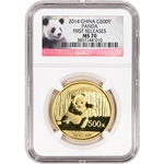 2014 China Gold Panda (1 oz) 500 Yuan - NGC MS70 - First Releases - Red Label