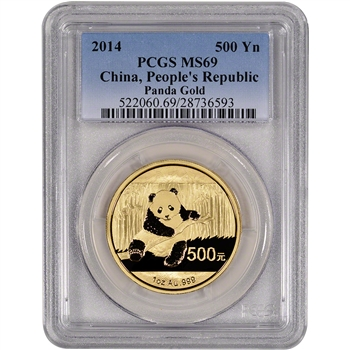 2014 China Gold Panda (1 oz) 500 Yuan - PCGS MS69
