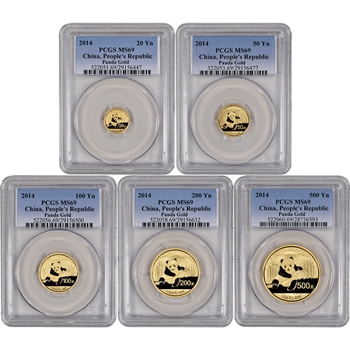 2014 China Gold Panda - 5-pc Year Set - PCGS MS69
