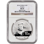 2014 China Silver Panda (1 oz) - NGC MS69