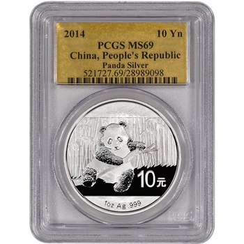 2014 China Silver Panda (1 oz) - PCGS MS69 - Gold Foil Label