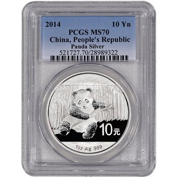 2014 China Silver Panda (1 oz) - PCGS MS70