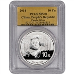 2014 China Silver Panda (1 oz) - PCGS MS70 - Gold Foil Label