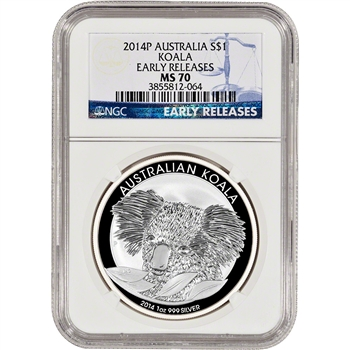 2014-P Australia Silver Koala (1 oz) $1 - NGC MS70 - Early Releases