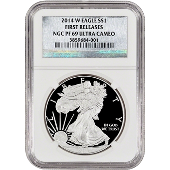 2014-W American Silver Eagle Proof - NGC PF69 - First Releases - Silver Foil Label