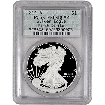 2014-W American Silver Eagle Proof - PCGS PR69 DCAM - First Strike - Doily Label