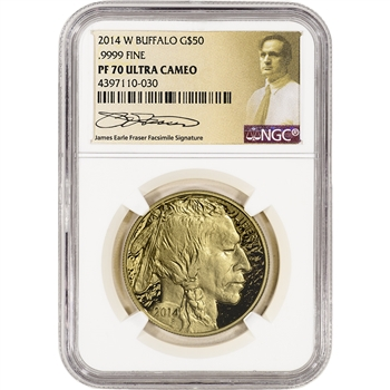 2014-W American Gold Buffalo Proof (1 oz) $50 - NGC PF70 UCAM - Fraser Label