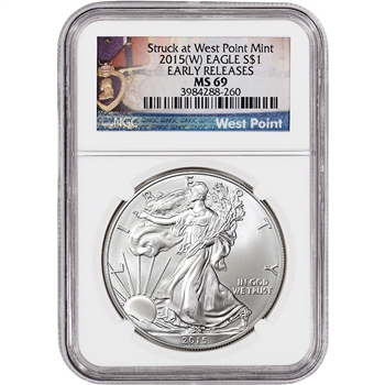 2015-(W) American Silver Eagle - NGC MS69 - Early Releases - West Point Label