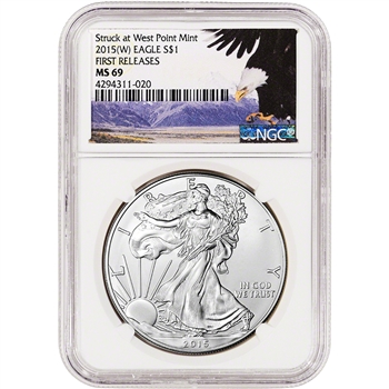 2015-(W) American Silver Eagle - NGC MS69 - First Releases - Bald Eagle Label