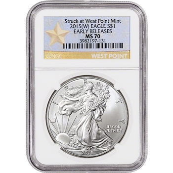 2015-(W) American Silver Eagle - NGC MS70 - Early Releases - West Point Star