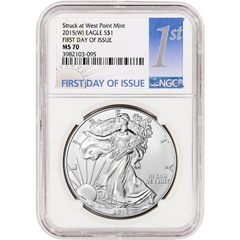 2015-(W) American Silver Eagle - NGC MS70 - First Day of Issue - NGC 1st Label