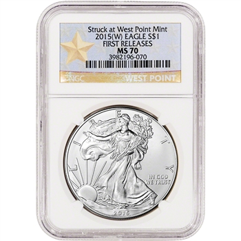 2015-(W) American Silver Eagle - NGC MS70 - First Releases - West Point Star
