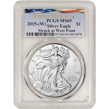 2015-(W) American Silver Eagle - PCGS MS69 - First Strike - New Flag Label