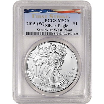2015-(W) American Silver Eagle - PCGS MS70 - First Strike - New Flag Label