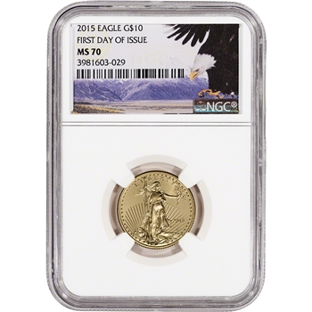 2015 American Gold Eagle (1/4 oz) $10 - NGC MS70 - First Day Bald Eagle Label