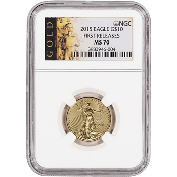 2015 American Gold Eagle (1/4 oz) $10 - NGC MS70 - First Releases - ALS Label