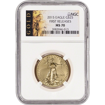 2015 American Gold Eagle (1/2 oz) $25 - NGC MS70 - First Releases - ALS Label