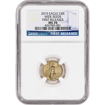 2015 American Gold Eagle (1/10 oz) $5 - NGC MS70 - First Releases - Wide Reeds