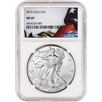 2015 American Silver Eagle - NGC MS69 - Flag Label
