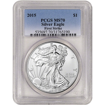 2015 American Silver Eagle - PCGS MS70 - First Strike -  Gradient Blue Label