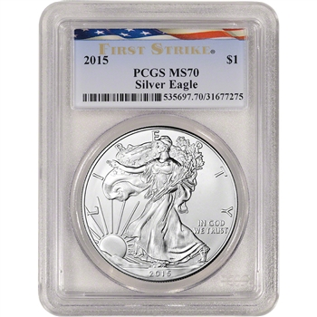 2015 American Silver Eagle - PCGS MS70 - First Strike - Ribbon Flag Label