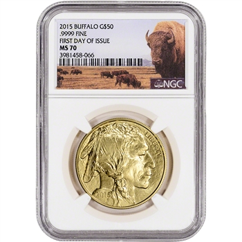 2015 American Gold Buffalo (1 oz) $50 - NGC MS70 - First Day of Issue Bison