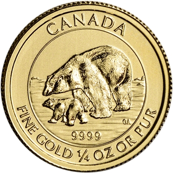 2015 Canada Gold Polar Bear and Cub $10 - 1/4 oz - .9999 Fine - BU