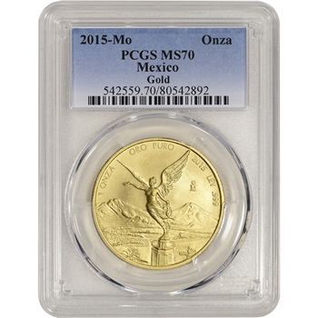2015 Mo Mexico Gold Libertad (1 oz) 1 Onza - PCGS MS70