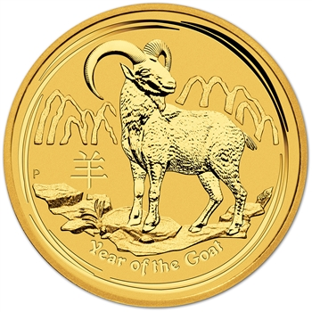 2015-P Australia Gold Year of the Goat (1 oz) $100 - Gem BU