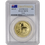 2015-P Australia Gold Year of the Goat (1/2 oz) $50 - PCGS MS70 First Strike