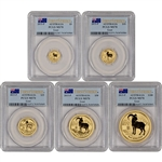 2015-P Australia Gold Year of the Goat - 5-pc Year Set - PCGS MS70 First Strike