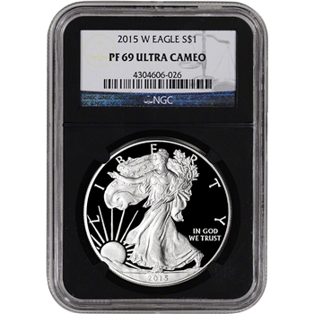 2015-W American Silver Eagle Proof - NGC PF69 UCAM - 'Retro' Black Core