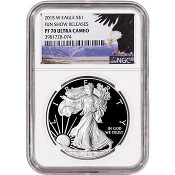 2015-W American Silver Eagle Proof - NGC PF70 UCAM - Fun Show - Bald Eagle Label